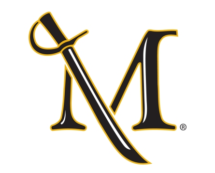 Millersville University Spirit Logo - An M with a sword making the left slant of the M